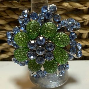 Rhinestone Flower Ring One Size Fits All